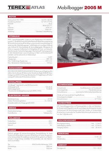 Technische Daten Prospekt 2005 M - ATLAS Hydraulikbagger