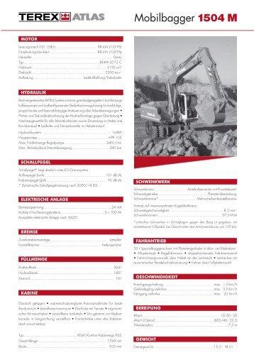 Technische Daten Prospekt 1504 M - ATLAS Hydraulikbagger