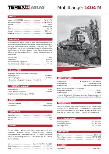Technische Daten Prospekt 1404 M - ATLAS Hydraulikbagger