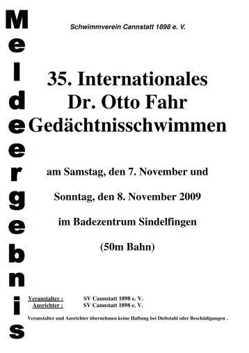 35. Internationales Dr. Otto Fahr Gedächtnisschwimmen