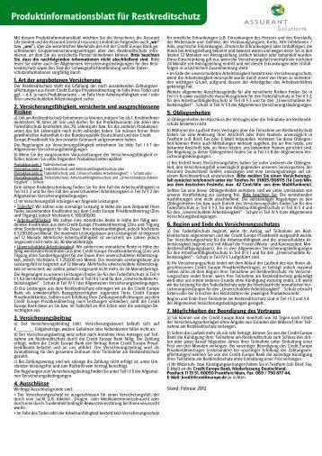 Versicherungsbedingungen Restkreditschutz - Credit Europe Bank