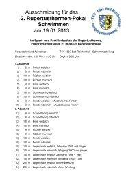 Ausschreibung für das 2. Rupertusthermen-Pokal Schwimmen am ...