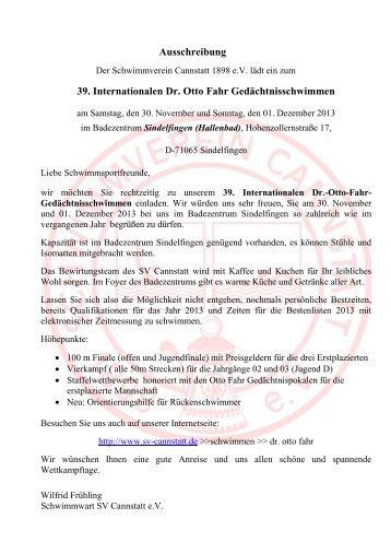 Ausschreibung 39. Internationalen Dr. Otto Fahr ...