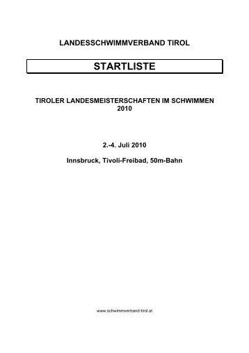STARTLISTE - Landesschwimmverband Tirol