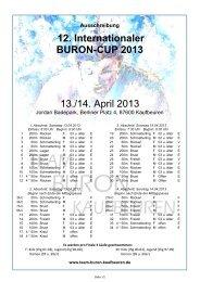 12. Internationaler BURON-CUP 2013 13./14. April 2013