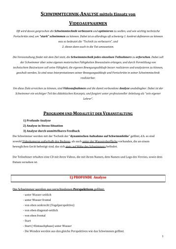 SCHWIMMTECHNIK-ANALYSE mittels Einsatz von ...