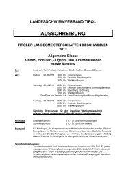 Ausschreibung - Landesschwimmverband Tirol