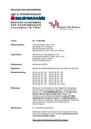 ZUM 19. INTERNATIONALEN MASTERS-SCHWIMMEN DER ...