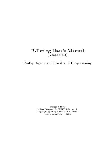 B-Prolog User's Manual - Computer and Information Science - CUNY