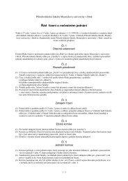 Řád řízení o nečestném jednání - Přírodovědecká fakulta