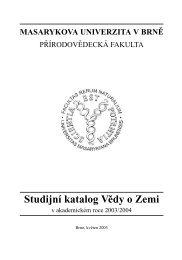 Studijní katalog programů sekce věd o Zemi
