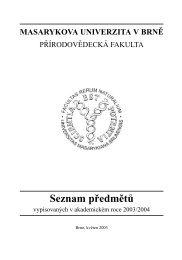 Seznam prˇedmeˇtu˚ - Masarykova univerzita