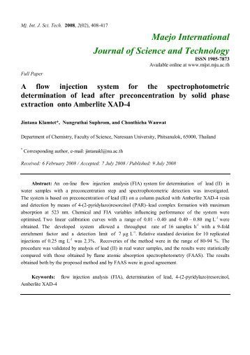 A flow injection system for the spectrophotometric determination of ...