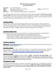 Page 1 of 4 BIOLOGY 100: General Biology Spring 2009 Syllabus ...