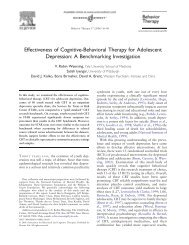 Effectiveness of Cognitive-Behavioral Therapy for Adolescent ...