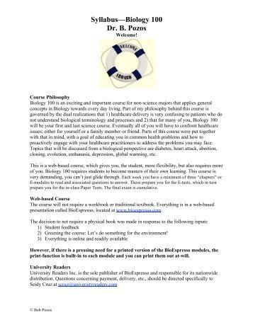 Biol 100: General Biology (online section)