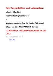 Neuheiten 2014 fuer Textredaktion und Uebersetzer: ebook-Hilfsmittel Technisches Englisch (Mechatronik)
