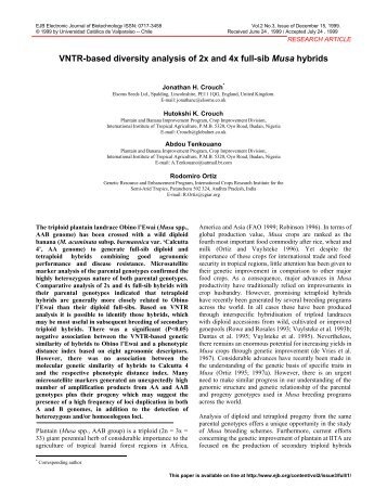 VNTR-based diversity analysis of 2x and 4x full-sib Musa ... - SciELO