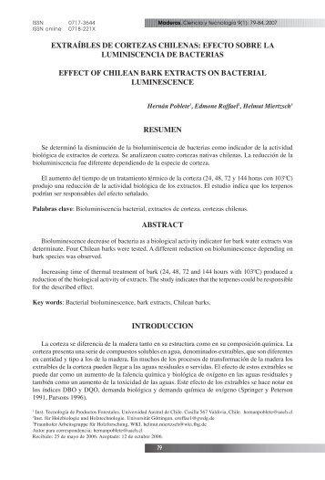 extraíbles de cortezas chilenas: efecto sobre la ... - SciELO Chile
