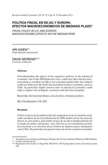 POLITICA FISCAL EN EE.UU. Y EUROPA: EFECTOS ... - SciELO
