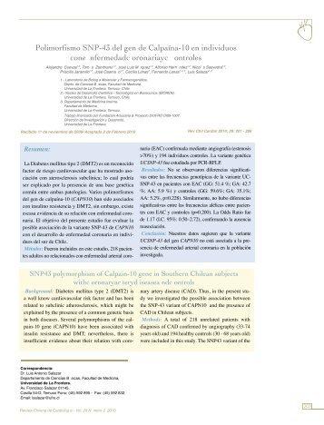 Polimorfismo SNP-43 del gen de Calpaína-10 en ... - SciELO