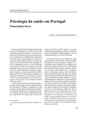 Psicologia da saúde em Portugal - SciELO