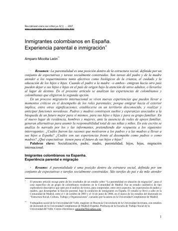 Inmigrantes colombianos en España. Experiencia parental e ...