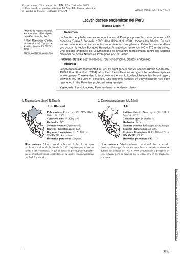 Lecythidaceae endémicas del Perú - SciELO