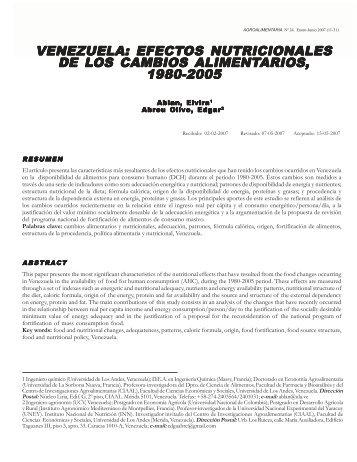 VENEZUELA: VENEZUELA: EFECTOS NUTRICION OS ... - SciELO