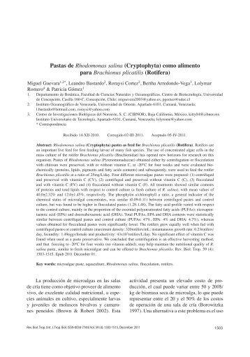 Pastas de Rhodomonas salina (Cryptophyta) como alimento para ...