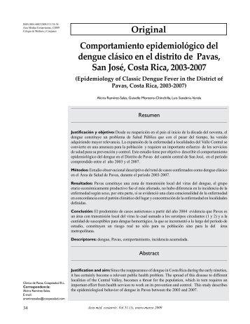 Original Comportamiento epidemiológico del dengue ... - SciELO
