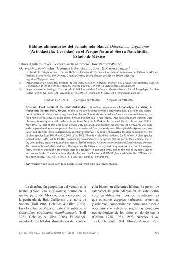 Hábitos alimentarios del venado cola blanca Odocoileus virginianus ...