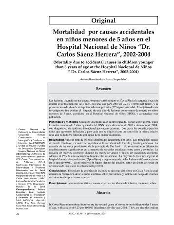Original Mortalidad por causas accidentales en niños ... - SciELO