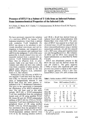 Presence of HTLV in a Subset of T Cells from an Infected Patient ...