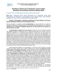 Synthèse et clôture par le Professeur Lucien Laubier Président des ...