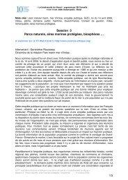 Session 3 Parcs naturels, aires marines protégées, biosphères …