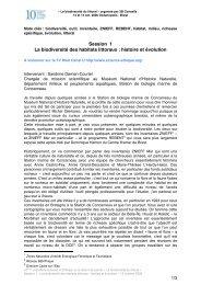 Session 1 La biodiversité des habitats littoraux : histoire et évolution