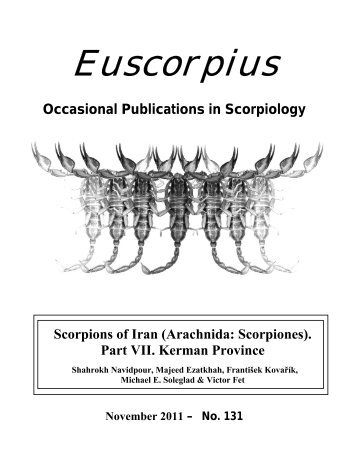 Occasional Publications in Scorpiology - Marshall University