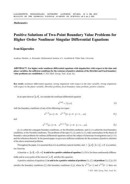 Boundary Value Problems for Higher Order Differential Equations