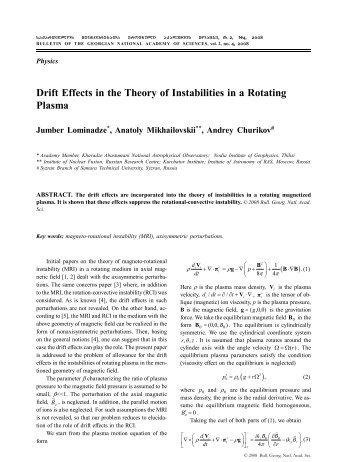 Drift Effects in the Theory of Instabilities in a Rotating Plasma
