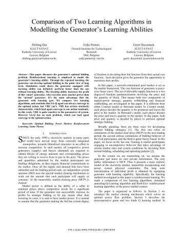 Comparison of Two Learning Algorithms in Modelling the ...