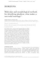 Molecular and morphological methods for identifying plankton