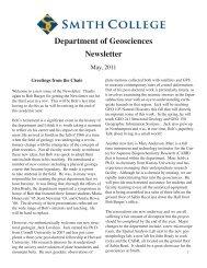 Department of Geosciences - Clark Science Center - Smith College