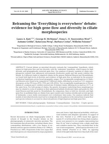 Reframing the 'Everything is everywhere'debate: evidence for high ...
