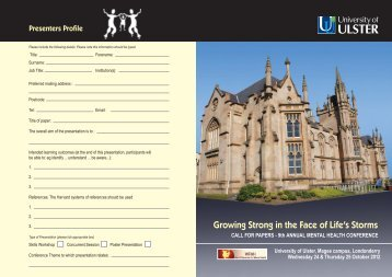 Call for Papers pdf - University of Ulster