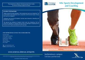 MSc Sports Development and Coaching - University of Ulster