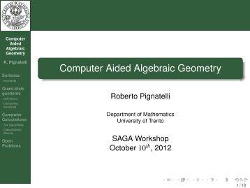 Computer Aided Algebraic Geometry