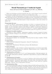 Metodi Matematici per l'Analisi dei Segnali