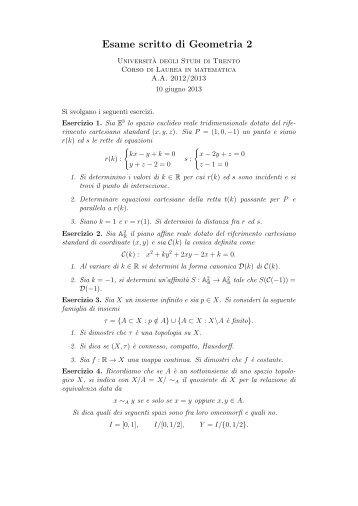 Scritto del 10.6.2013 con la soluzione degli esercizi