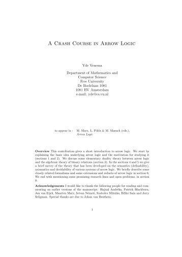A Crash Course in Arrow Logic - Universiteit van Amsterdam